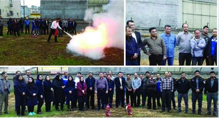 آموزش کار با کپسول ضد حریق در آبفای انزلی با حضور کارشناسان سازمان آتش نشانی